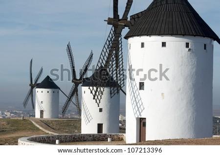 group of traditional windmills in Alcazar de San Juan, Ciudad Real, Castilla La Mancha, Spain