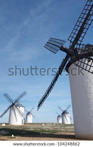 group of  traditional windmills in Campo de Criptana, Ciudad Real, Castilla La Mancha, Spain