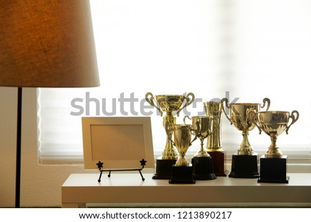 group of trophy by the window #1213890217