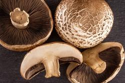 Group of two whole two halves of fresh brown mushroom portobello flatlay on grey stone