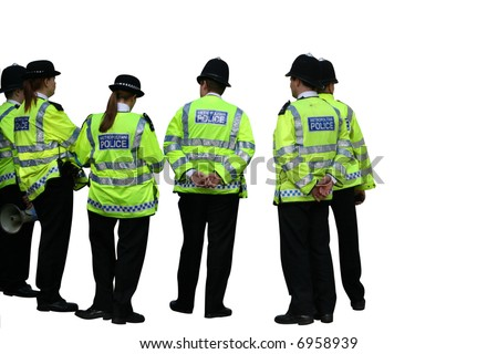 Group of UK Metropolitan police officers - stock photo