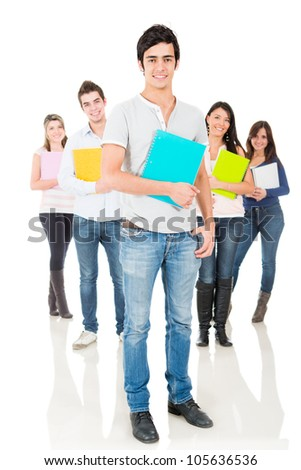 Group of university students smiling - isolated over a white background