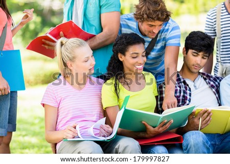 Group of university students studying at college campus