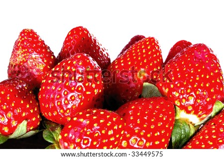 group of upside down strawberries isolated showing the more attractive chocolate dipping end