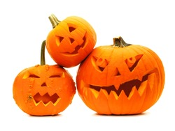 Group of varied Halloween Jack o Lanterns isolated on white