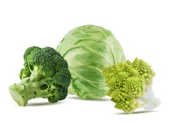 Group of vegetables cabbage, broccoli, romanesco, isolated on white background