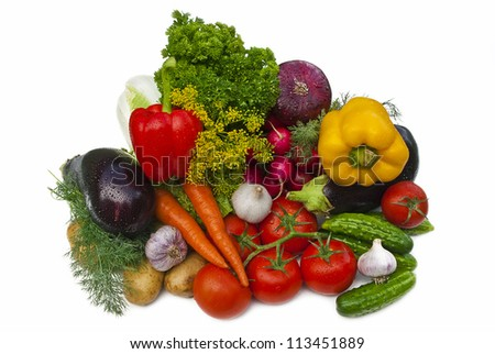 Group of vegetables isolated over white