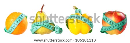 Group of vegetables tied up with measuring tape