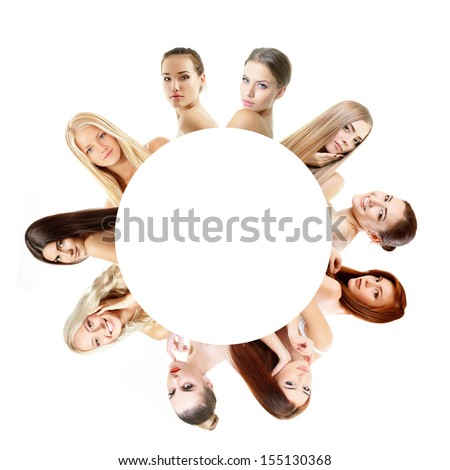 Group of very beautiful girls redheaded, blond and brunet, healthy faces closeup over white with empty round inside