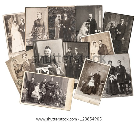 group of vintage family and wedding photos circa 1885-1920. nostalgic sentimental pictures collage on white background