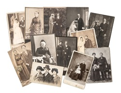 group of vintage family and wedding photos circa 1890-1920. nostalgic sentimental pictures on white background