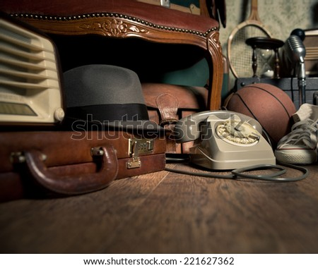 group of vintage objects on...