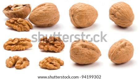 Group of walnuts isolated on a white background.