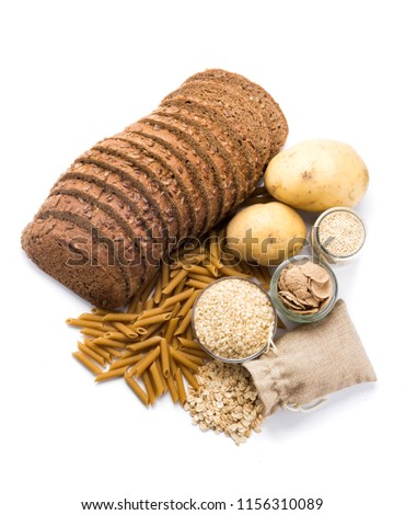 Group of whole foods, complex carbohydrates isolated on a white background #1156310089