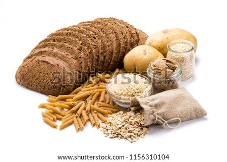 Group of whole foods, complex carbohydrates isolated on a white background #1156310104