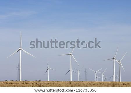 group of windmills for electric power generation alternative in Belchite, Saragossa, Aragon, Spain