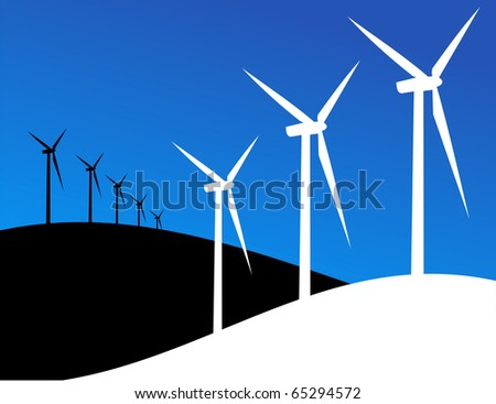 Group of Windmills silhouettes on blue and black background. - stock photo