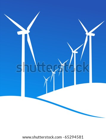 Group of Windmills white silhouettes on blue background.