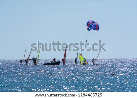 Group of windsurfers is Red sea near Eilat, Israel, water sport and recreation #1184465725