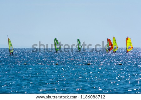 Group of windsurfers is Red sea near Eilat, Israel, water sport and recreation #1186086712