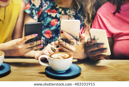 Group of Women Drinking Coffee Using Smart Phone Concept #483331915