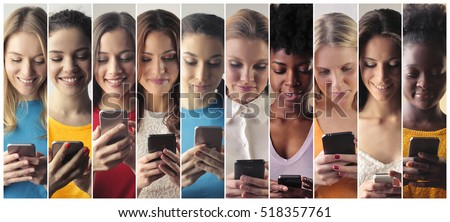 Group of women use the smart phone