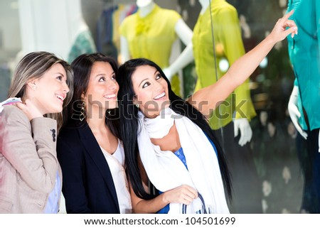 Group of women window shopping at the mall