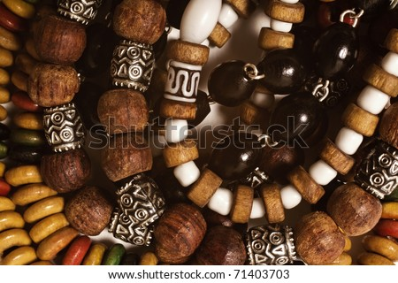 Group of wooden bracelets handmade closeup