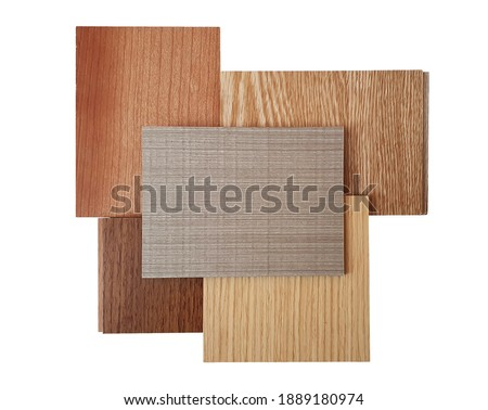 group of wooden laminated or veneer and engineer flooring samples from different types of wood for the designer's work. isolated on white background with clipping path (focused at center of image). Foto stock ©