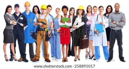Group of workers people. Isolated on white background Stock foto ©