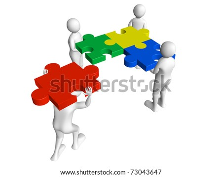 Group of workers solving a puzzle. Concept of teamwork