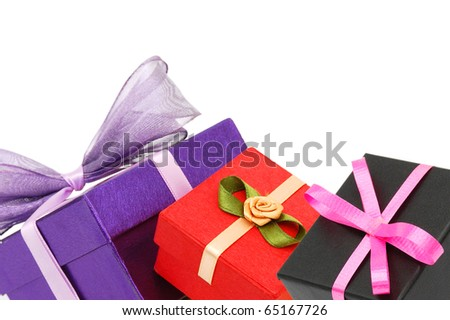 Group of wrapped gift boxes background