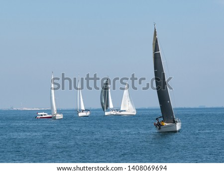 Group of yachts sailing in sea at day. Regatta battle concept
