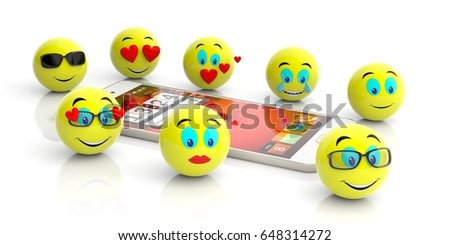 Group of yellow emoticons and a smartphone isolated on white background. 3d illustration #648314272