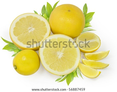 group of yellow lemons and grapefruits with green leaves isolated on white with clipping path - stock photo