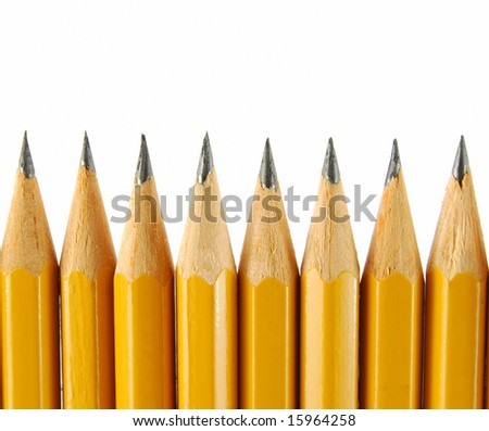 Group of yellow pencils on the white background