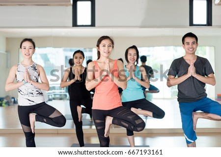 group of yoga in class #667193161