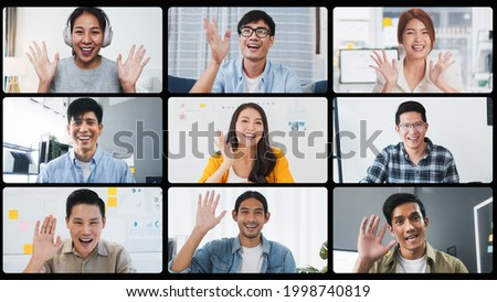 Group of young Asian business people, office coworker on video online conference call, remote team meeting