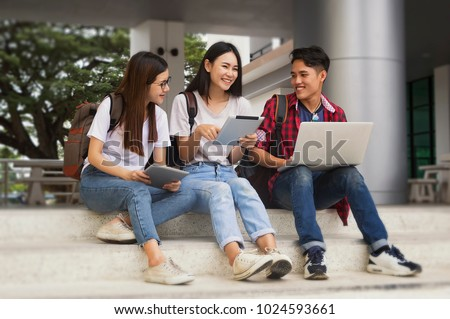 Group of young asian studying in university sitting during lecture education students college university studying youth campus friendship teenager teens concept.