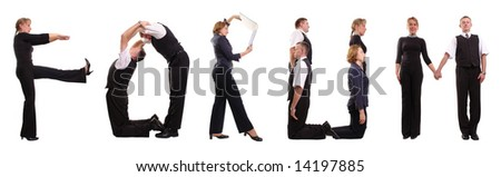 Group of young business people standing over white forming FORUM word