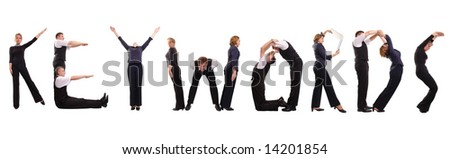 Group of young business people standing over white forming KEYWORDS word