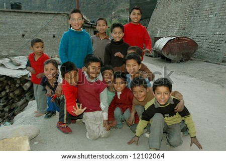 Group of young children in small village in northern India