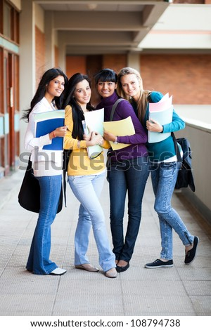 group of young college girls full length portrait