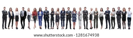 group of young entrepreneurs standing in a row #1281674938