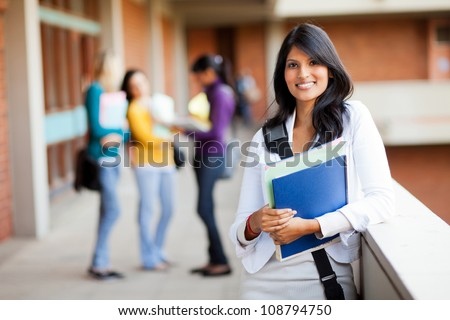 group of young female college students on campus