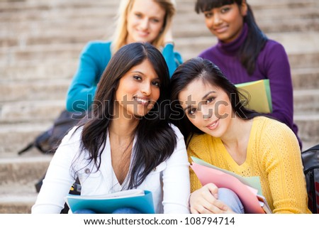 group of young female university friends