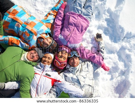 Group of young friends enjoying wintertime