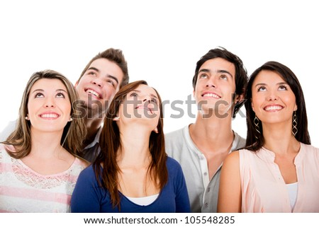 Group of young friends looking up - isolated over white