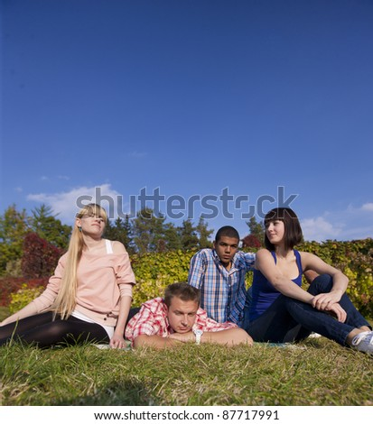 Group of young happy people outdoor