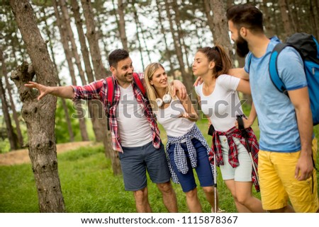 Group of young people are hiking in mountain at spring day #1115878367